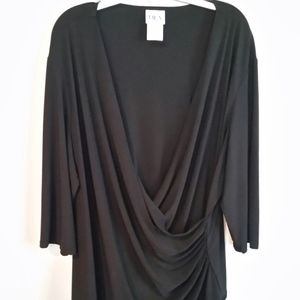 Elegant Black Surplice Top with 3/4 sleeves- 3X